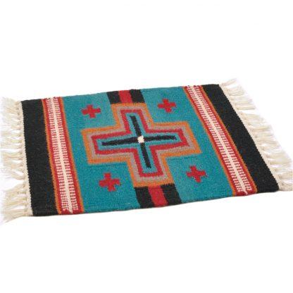 Wool Maya Modern 20X15/ウールラグ素材プレースマット[13.TURQUOISE/BLK]