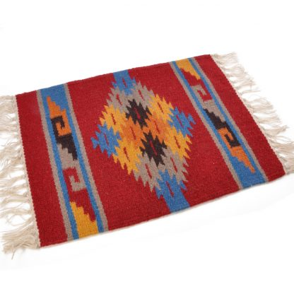 Wool Maya Modern 20X15/ウールラグ素材プレースマット[09.BURGUNDY/BLUE]
