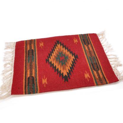 Wool Maya Modern 20X15/ウールラグ素材プレースマット[08.BURGUNDY/ORANGE]