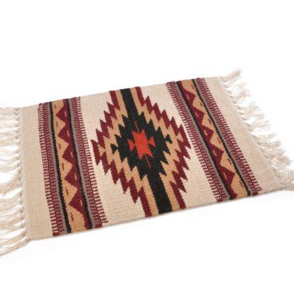 Wool Maya Modern 20X15/ウールラグ素材プレースマット[01.NATURAL/BLK]