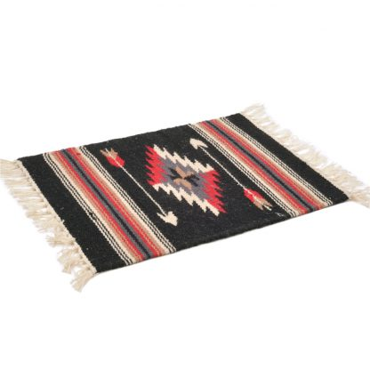 Wool Chimayo Style/ウールラグ素材プレースマット 20X15[BLK]