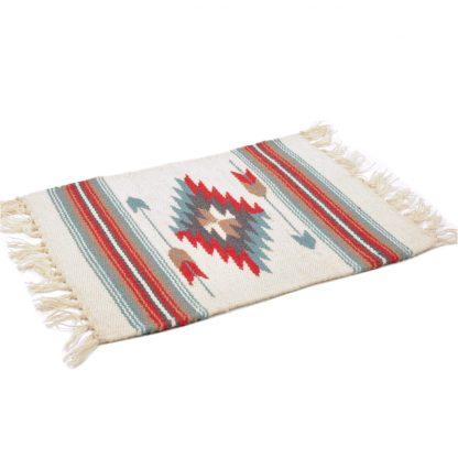 Wool Chimayo Style/ウールラグ素材プレースマット 20X15[NATURAL/BLUE]