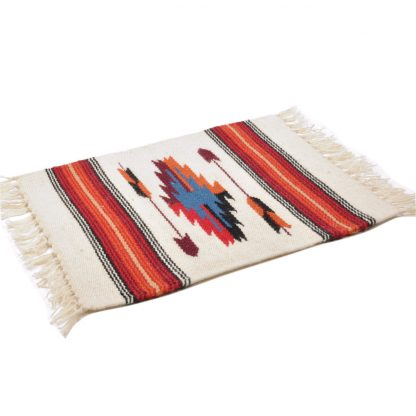 Wool Chimayo Style/ウールラグ素材プレースマット 20X15[NATURAL/RED]