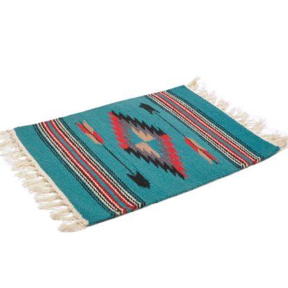 Wool Chimayo Style/ウールラグ素材プレースマット 20X15[TURQUOISE]