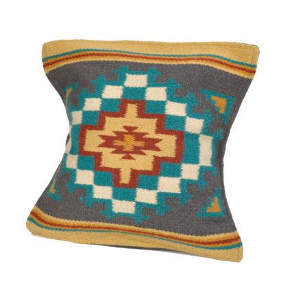 Wool Maya Modern/ウールラグ素材クッションカバー[19.GRAY/TEAL]