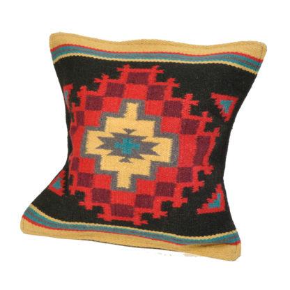 Wool Maya Modern/ウールラグ素材クッションカバー[20.BLK/RED]