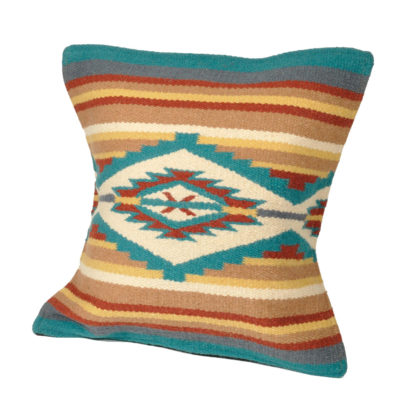 Wool Maya Modern/ウールラグ素材クッションカバー[24.TAN/TEAL]